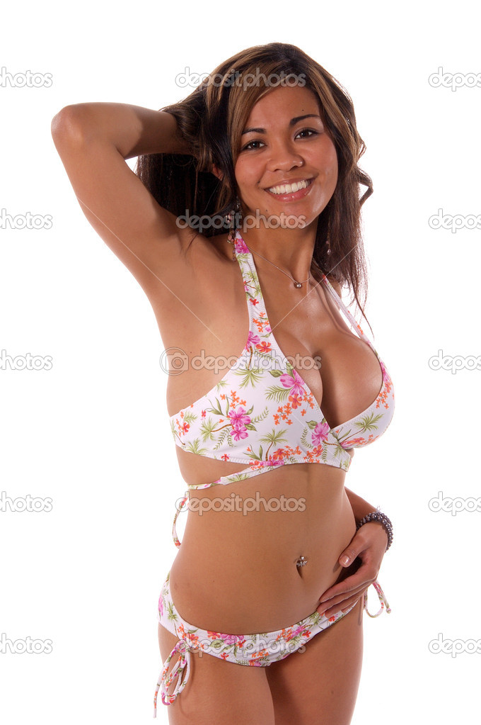 Sexy large busted model in a bikini isolated over white  Stock Photo #6868308
