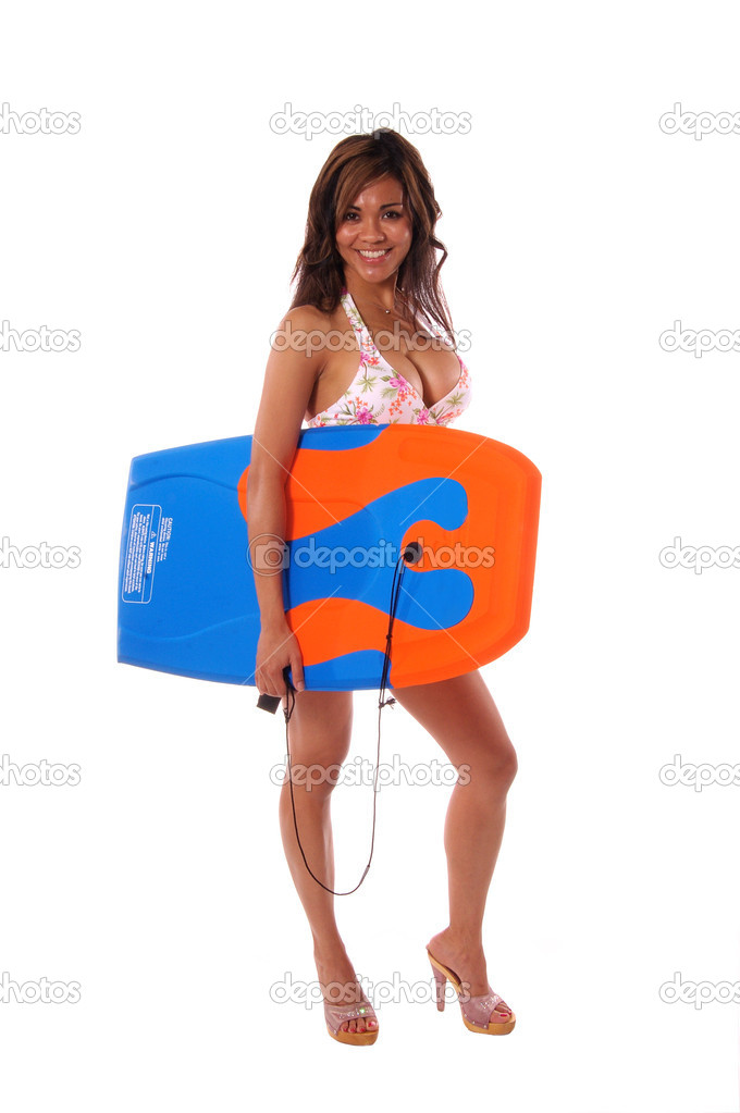 Sexy bikini model with a Boogie BoardIsolated over white — Stock Photo #6868339