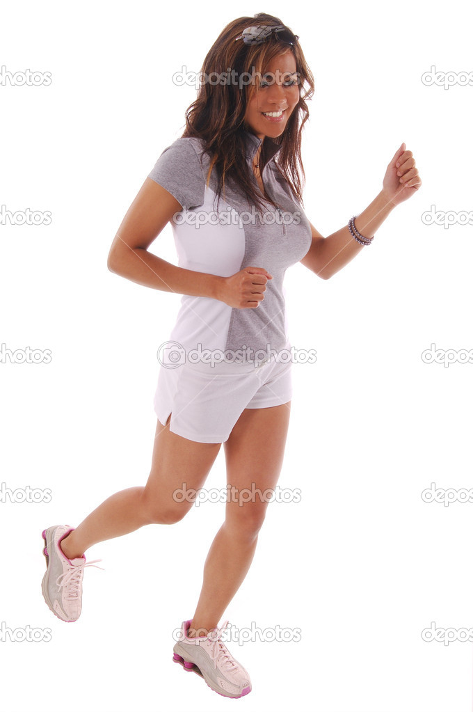 Sexy workout woman runningIsolated over white — Stock Photo #6868423