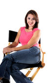 Woman In Directors Chair — Stock Photo
