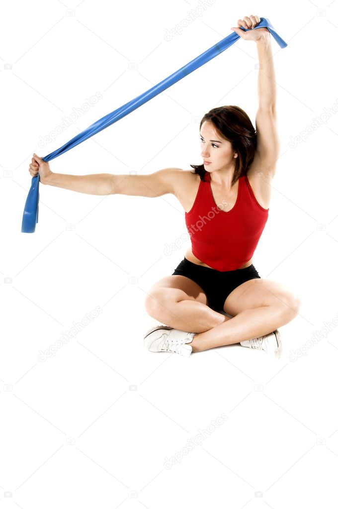 Woman working out with stretch bands — Stock Photo #6870329
