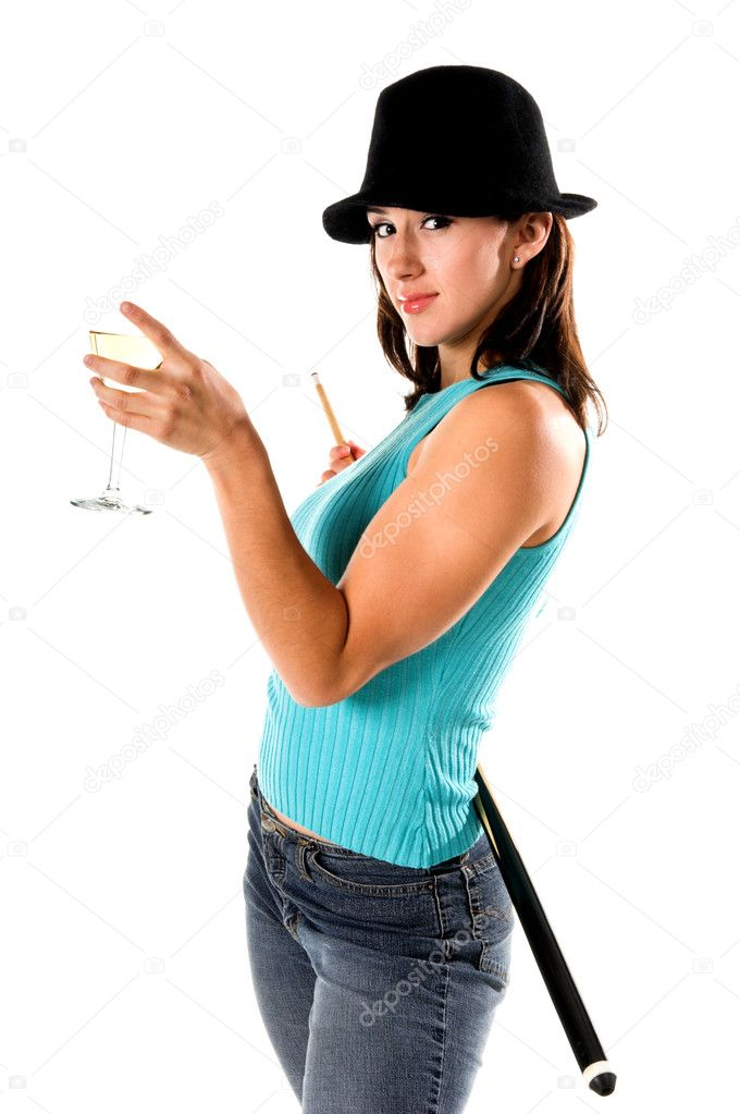 Sexy young woman in jeans and a hat with a pool cue and a glass of wine — Stock Photo #6870558