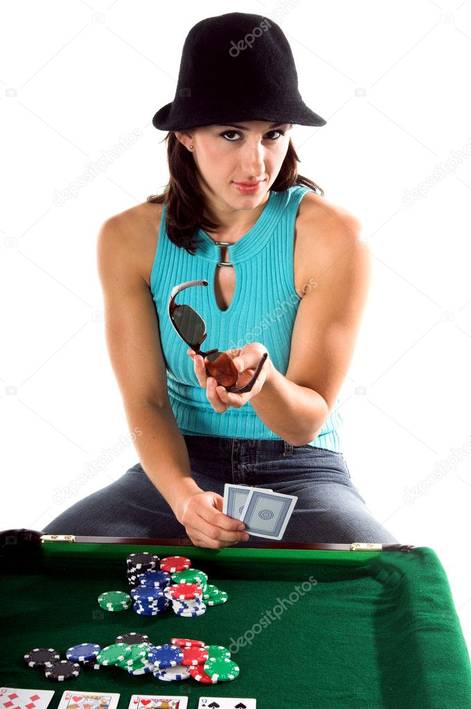 A sexy young brunette playing Texas Holdum Poker — Stock Photo #6870644