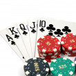 Stock Photo: Royal Flush Clubs