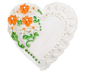 Gingerbread heart, with clipping path. — Stock Photo