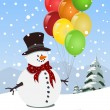 Stock Vector: Happy snowman holding colorful balloons