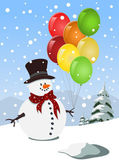 Happy snowman holding colorful balloons — Stock Vector