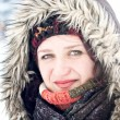 Cold winter snow outdoor portrait of woman — Stock Photo