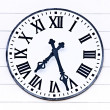 Stock Photo: Old architecture analogue church clock showing time