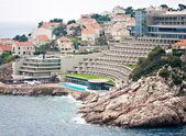 Big tourist luxury hotel accomodation at sea — Stock Photo