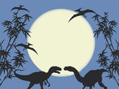 Dinosaures and Archeopteryx — Stock Photo
