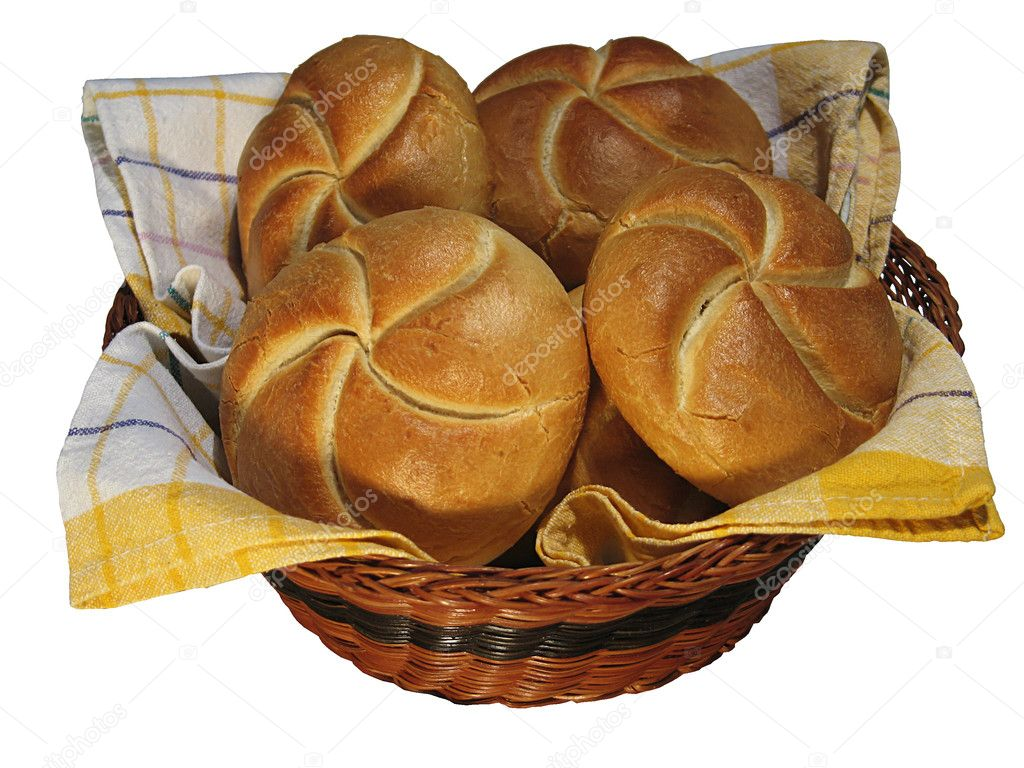 Fresh hot buns in the basket — Stock Photo #7137710