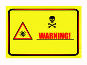 Optical radiation sign warning table — Stock Photo