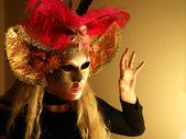 Carnnival mask girl fright scene — Stock Photo
