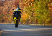 Wheelie on motorcycle — Stock Photo