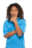 Rasta kid thinking in studio — Stock Photo