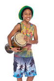 Happy rasta boy with hand made drum — Stock Photo