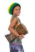 Rasta kid with conga — Stock Photo