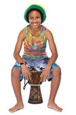 Young afroamerican kid with his conga — Stock Photo