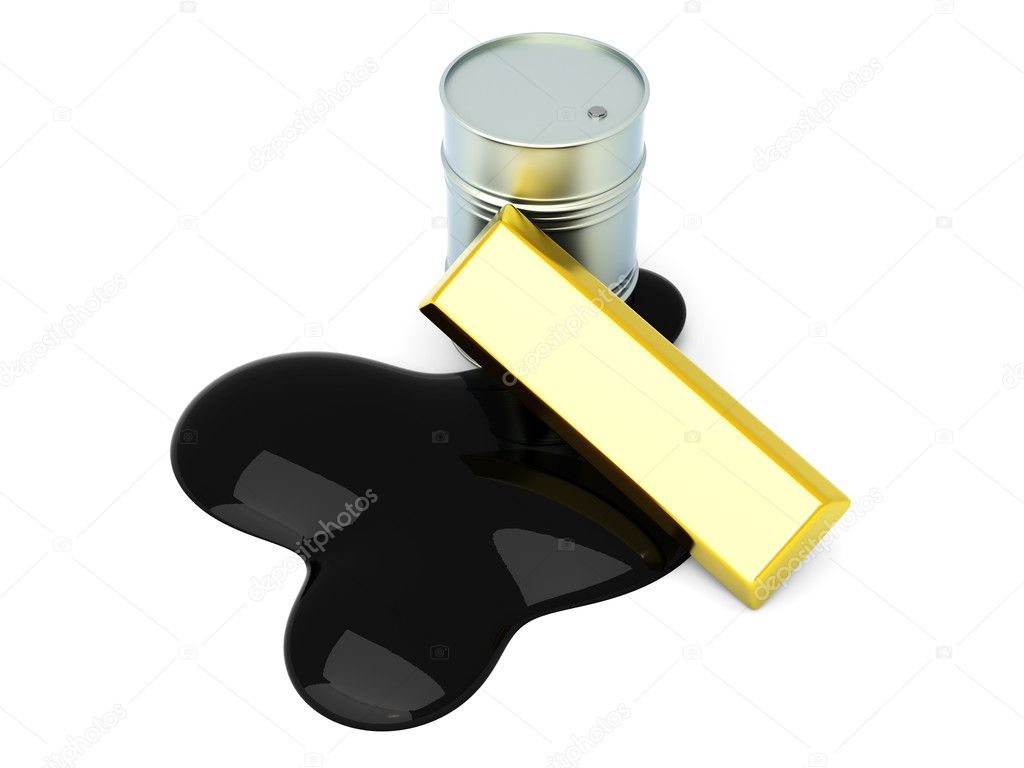 Gold and Oil, two commodities on the stock market. 3D rendered Illustration. Isolated on white.  Stock Photo #6822603