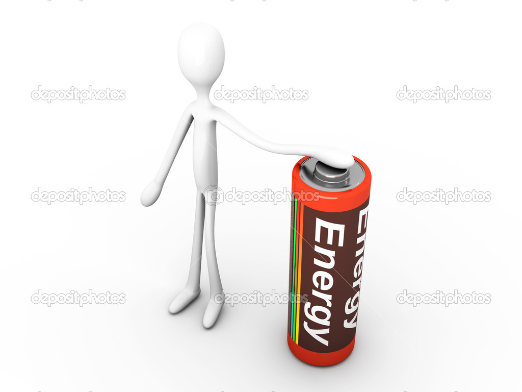 Cartoon figure holding a Battery. 3D rendered Illustration. Isolated on white. — Stock Photo #6904323