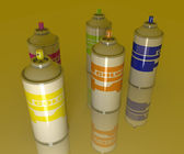 Color Aerosol Cans — Stock Photo