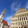 Townhall of Augsburg with St. Peter — Stock Photo