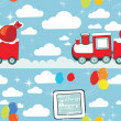 Royalty-Free Stock Vector Image: Pattern of red cartoon train with gifts and balloons, christmas background.