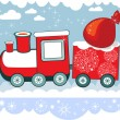 New Year Winter Christmas train with snowflakes and bag, vector card. - Stock Vector