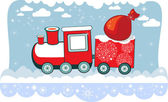 New Year Winter Christmas train with snowflakes and bag, vector card. — Stock Vector