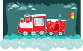 Cartoon red christmas train with present bags and balloons,vector backgroun — Stock Vector