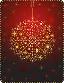 Red Christmas ball made with graphics elements, vector. — Stock Vector