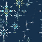 Snowflake christmas pattern with stars, vector. — Stock Vector