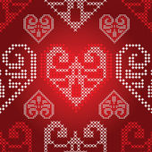 Red Holidays ornament pattern with valentine hearts, vector. — Stock Vector