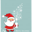 Christmas greeting card with Santa Claus and tree, vector. — Stock Vector