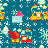 Christmas happy pattern of cartoon train with gifts, vector. — Stock Vector