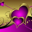 A purple hearts Valentines Day Background — Векторная иллюстрация
