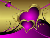 A purple hearts Valentines Day Background — Vector de stock