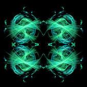 Abstrakt symmetriska fraktal bakgrund på en svart bas färg — Stockfoto