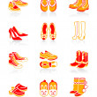 Stock Vector: Footwear icons | JUICY series