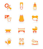 Babies objects icons | JUICY series — Stock Vector