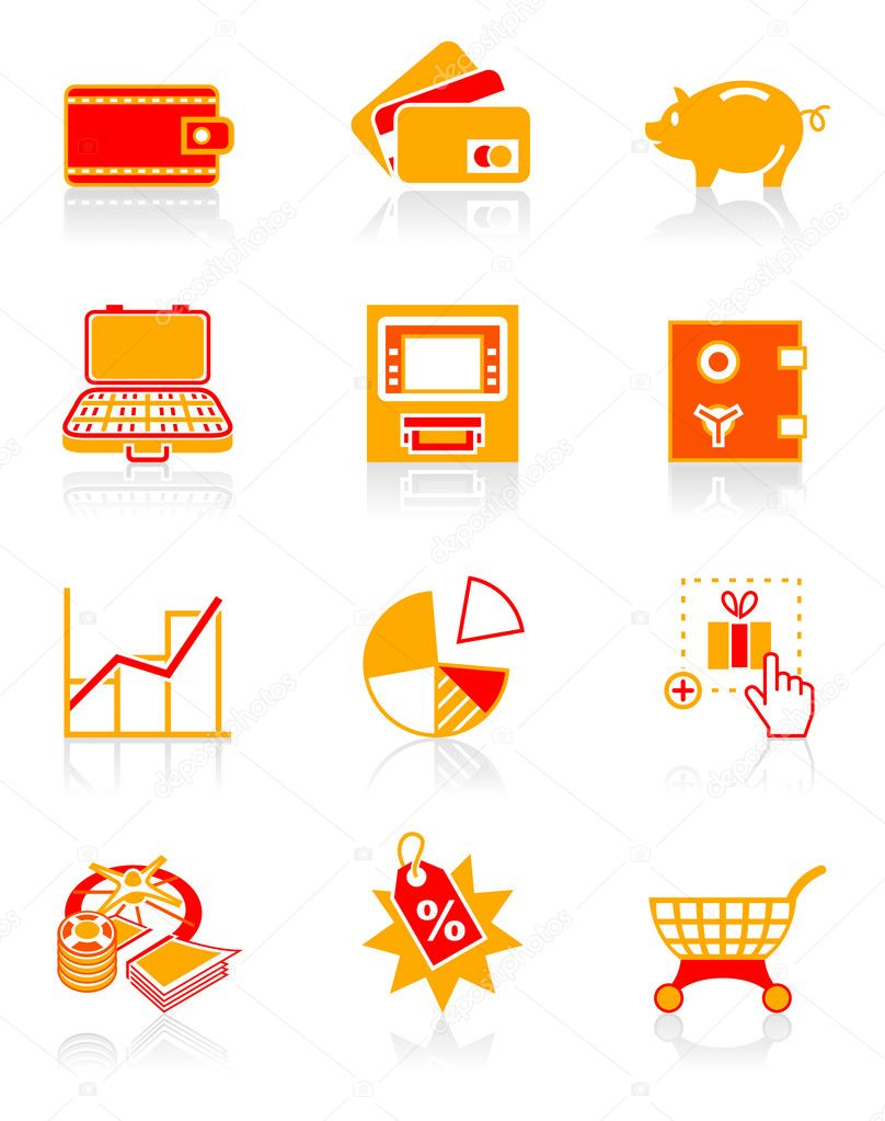 All about earning, saving and spending money icon set. — Stock Vector #6756035