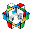 Rubik office Cubicle — Stockvectorbeeld