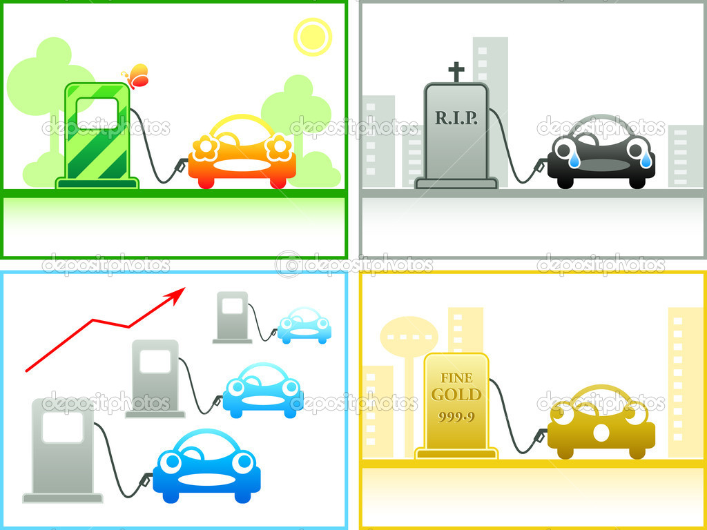 Car emotion at the different petrol stations — Stock Vector #6803033