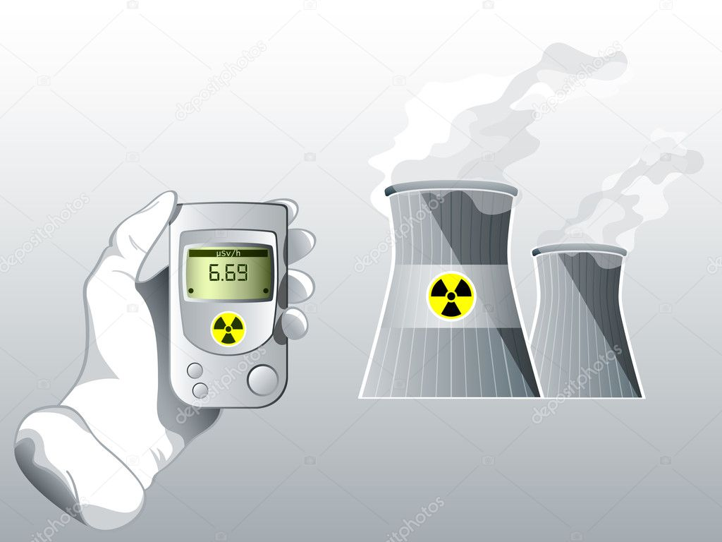 Hand with Geiger counter near nuclear power station — Stock Vector #6803098