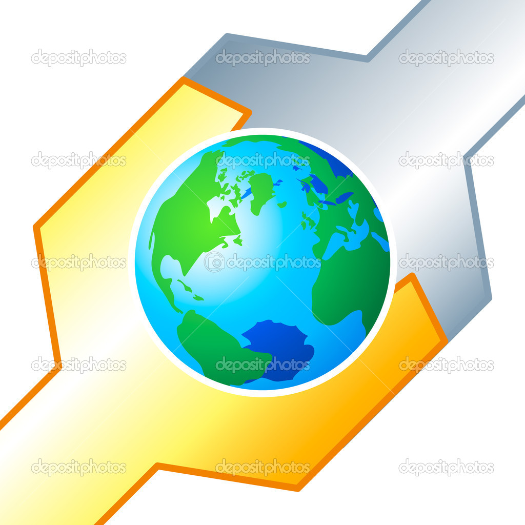 Earth globe in the clutch of technology arms — Stock Vector #6803153