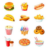Fast food icons — Stockvektor