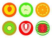 Раунд нарезанных фруктов символы — Cтоковый вектор