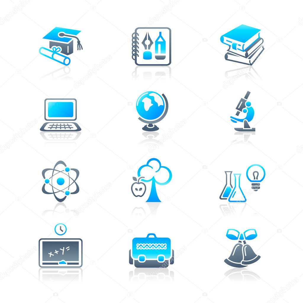 School and college education objects; tools and science symbols vector icon set. — Stock Vector #6957527
