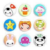 Kawaii badges — Stock Vector